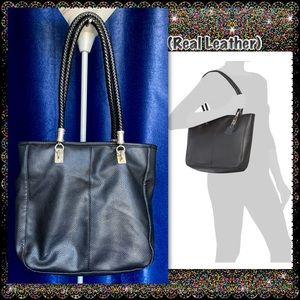 Leather Tote- Medium Sized exterior in (GUC)